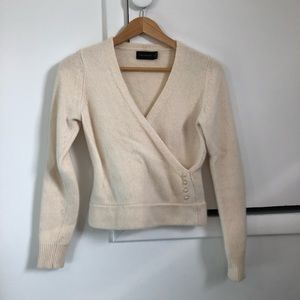 The Limited Cream Angora Lambswool Wrap Sweater M